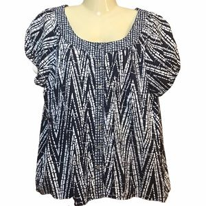 George Scoop Neck Button-up Top Blue White ZigZag
